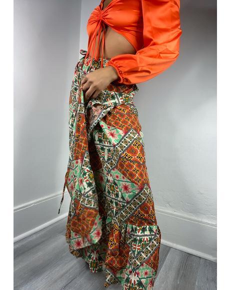 Tile Print Maxi Skirt