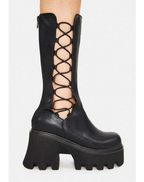 Vegan Leather Platform Lace Up Boots