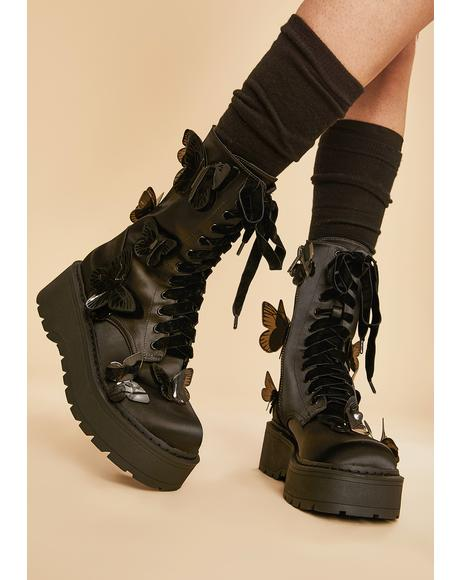 Awaken The Night Butterfly Combat Boots