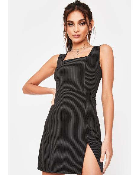 Black Pinstripe Mini Dress