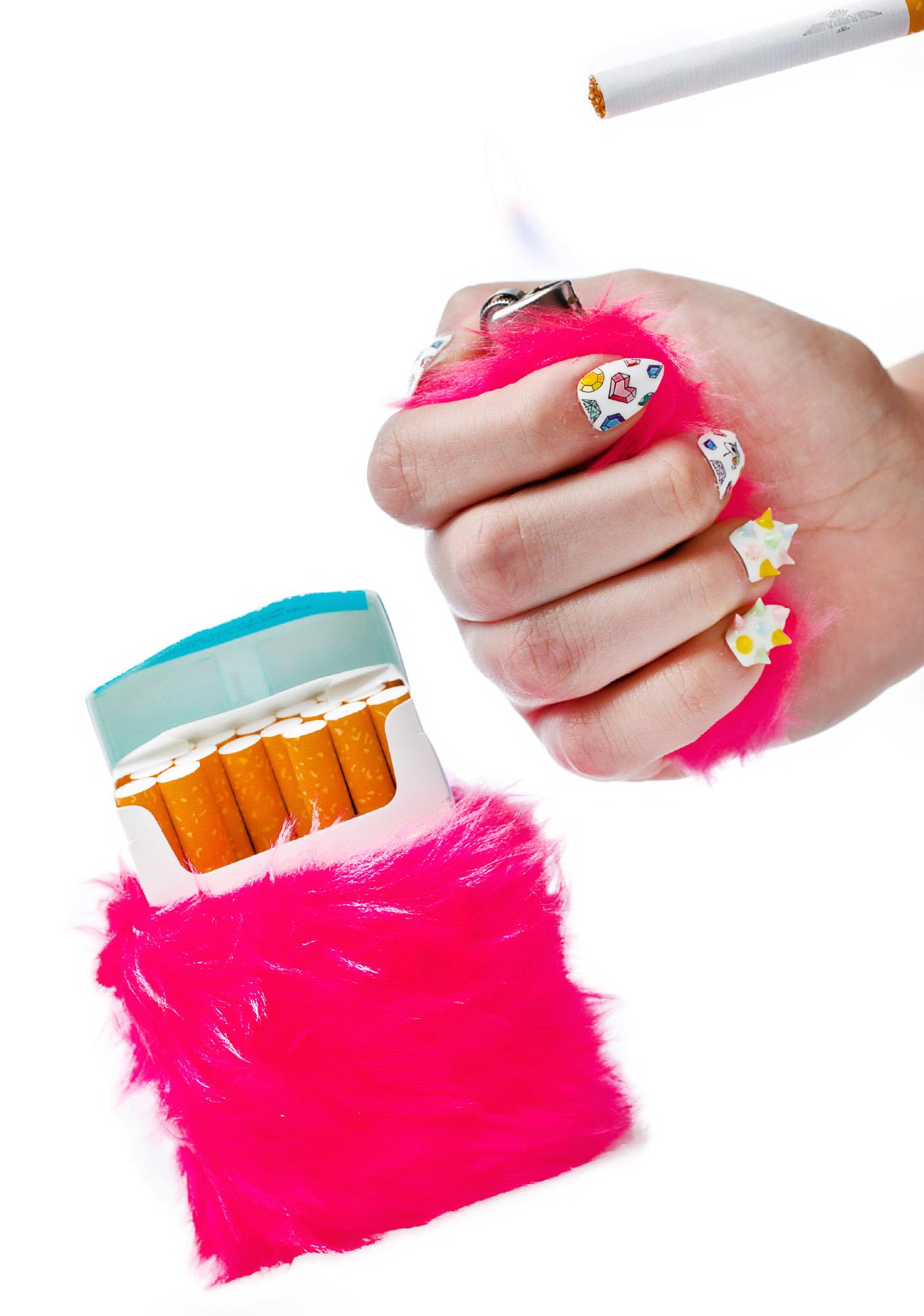 Kerenika Kandi Krush Pink Lighter & Cigarette Fur Case Set