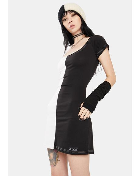 Zoey Two Face Black And White Mini Dress