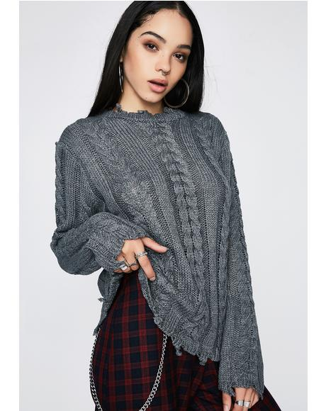 Smoke Broken Dreams Cable Knit Sweater