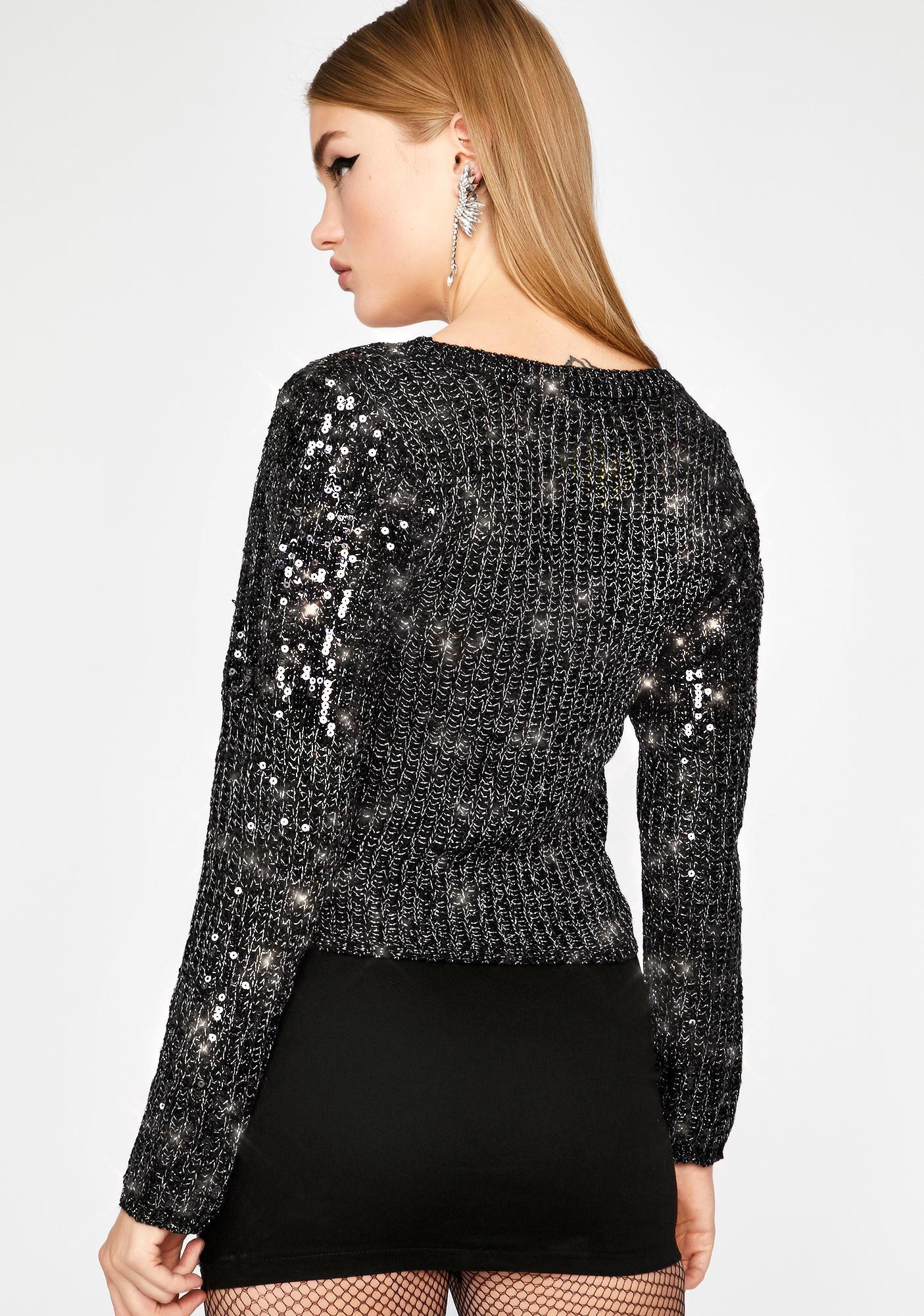 Glitzy Grunge Sequin Sweater