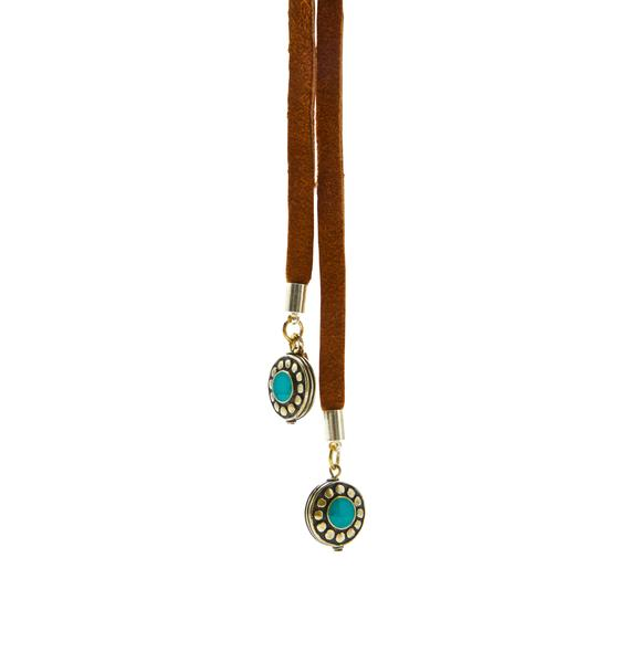 Vanessa Mooney The Turquoise Tan Leather Wrap Bolo