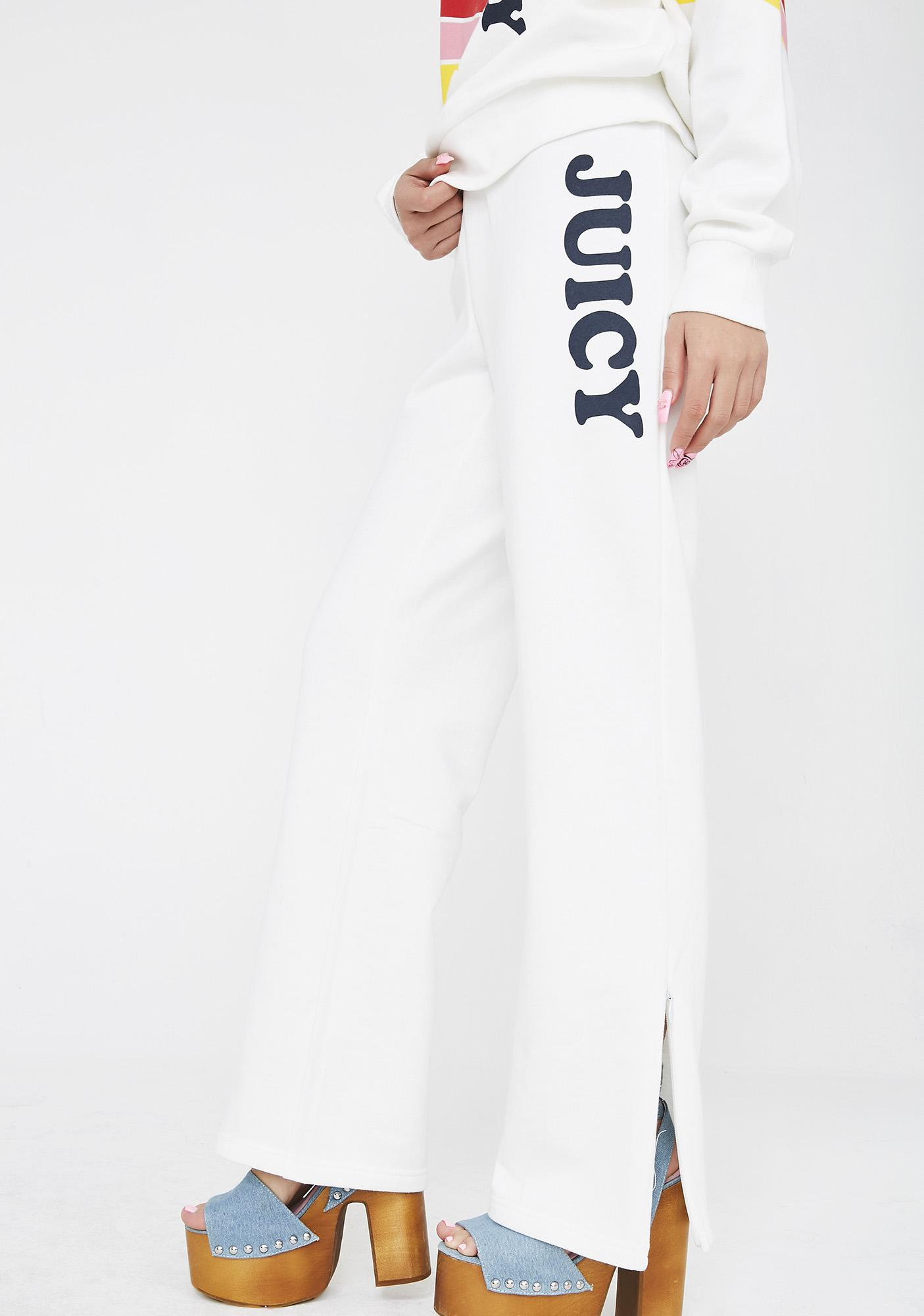JUICY COUTURE Logo Wide Leg Side Zip Terry Pants