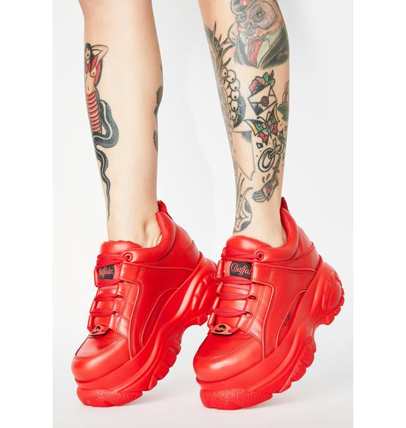Buffalo London Red Classic Low Leather Sneakers