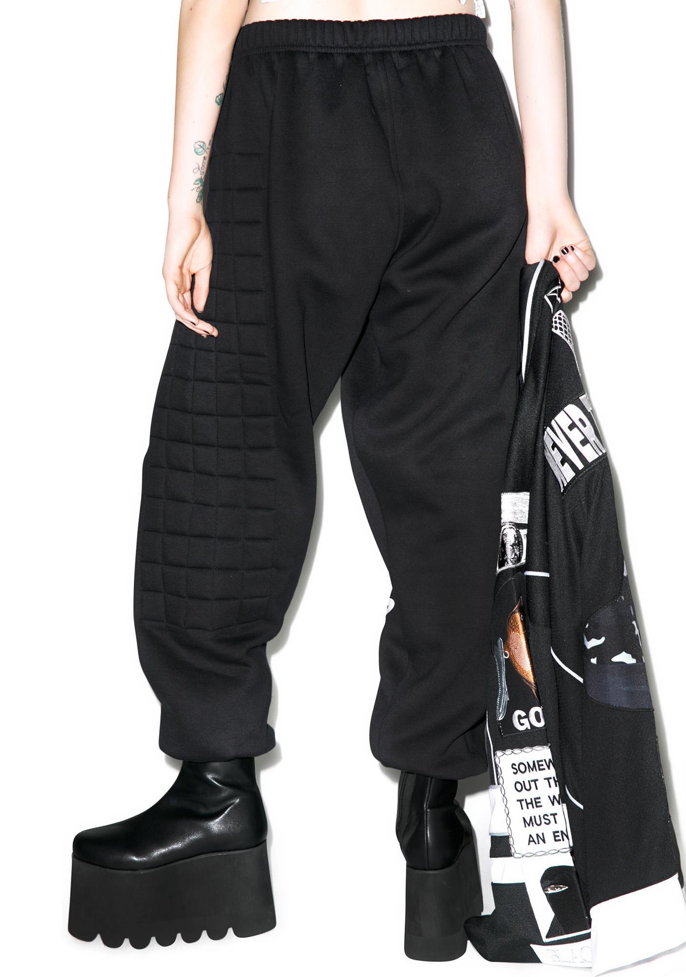 W.I.A Black Padding Sweat Pants