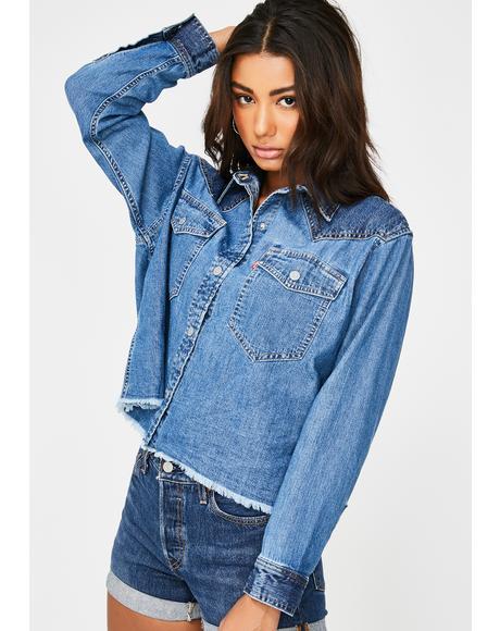 Mirella Raw Edge Western Denim Jacket