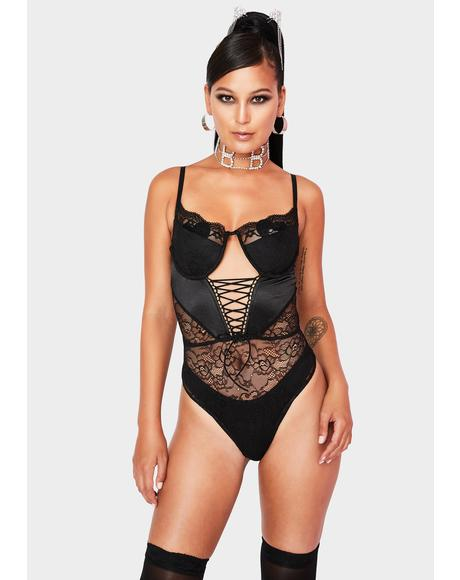 Noir Marriage Material Lace Bodysuit