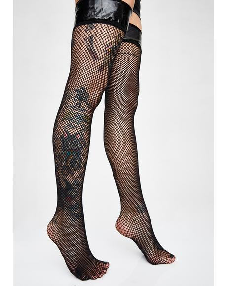 bf7fa91a9 Madame Midnight Thigh High Fishnet Stockings ...