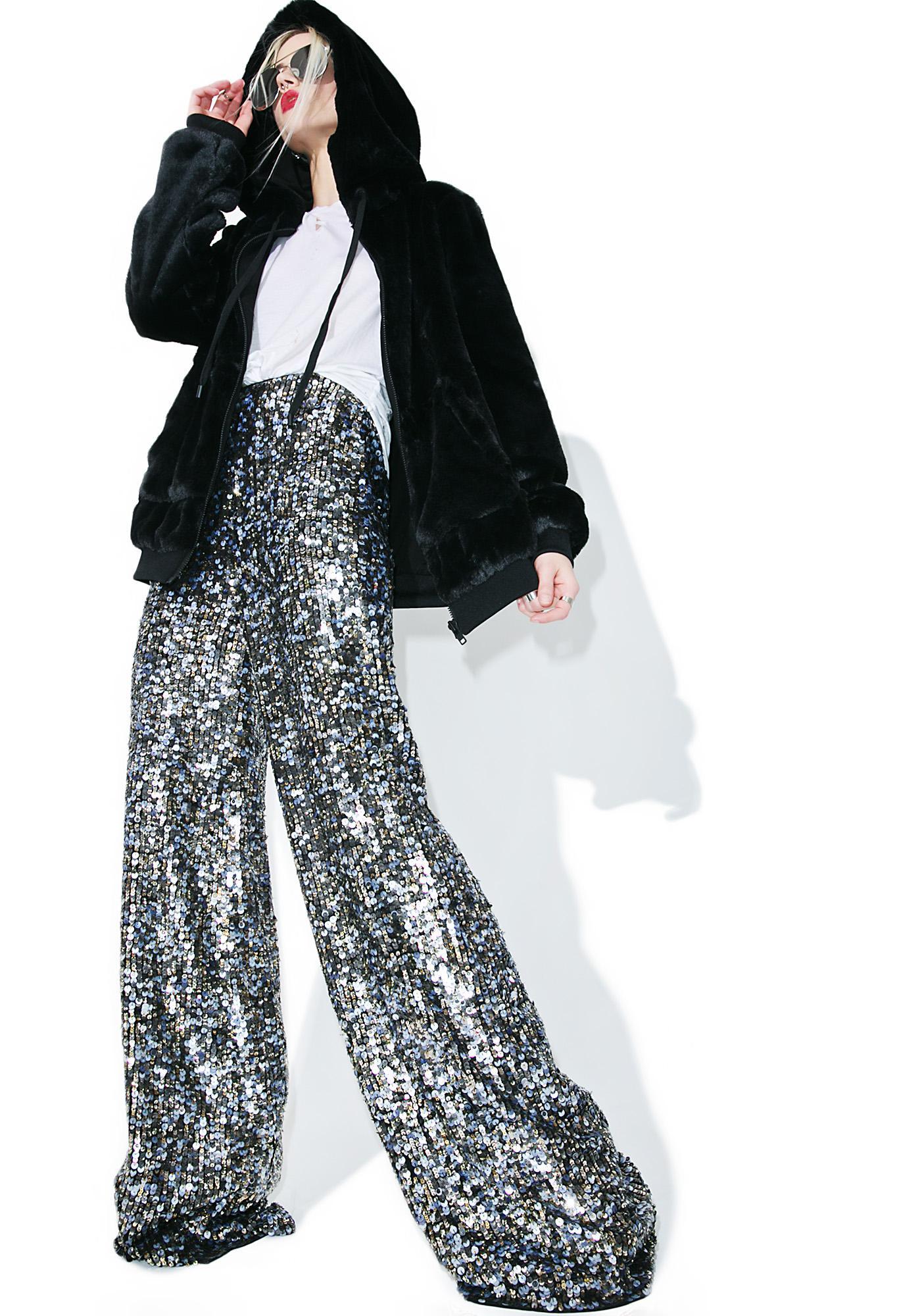 Kendall + Kylie Faux Fur Zip-Up Hoodie