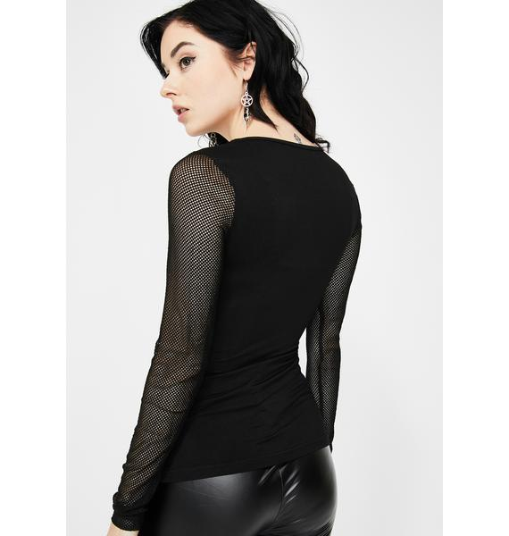 Devil Fashion Leather Stripe Mesh Long Sleeve Top