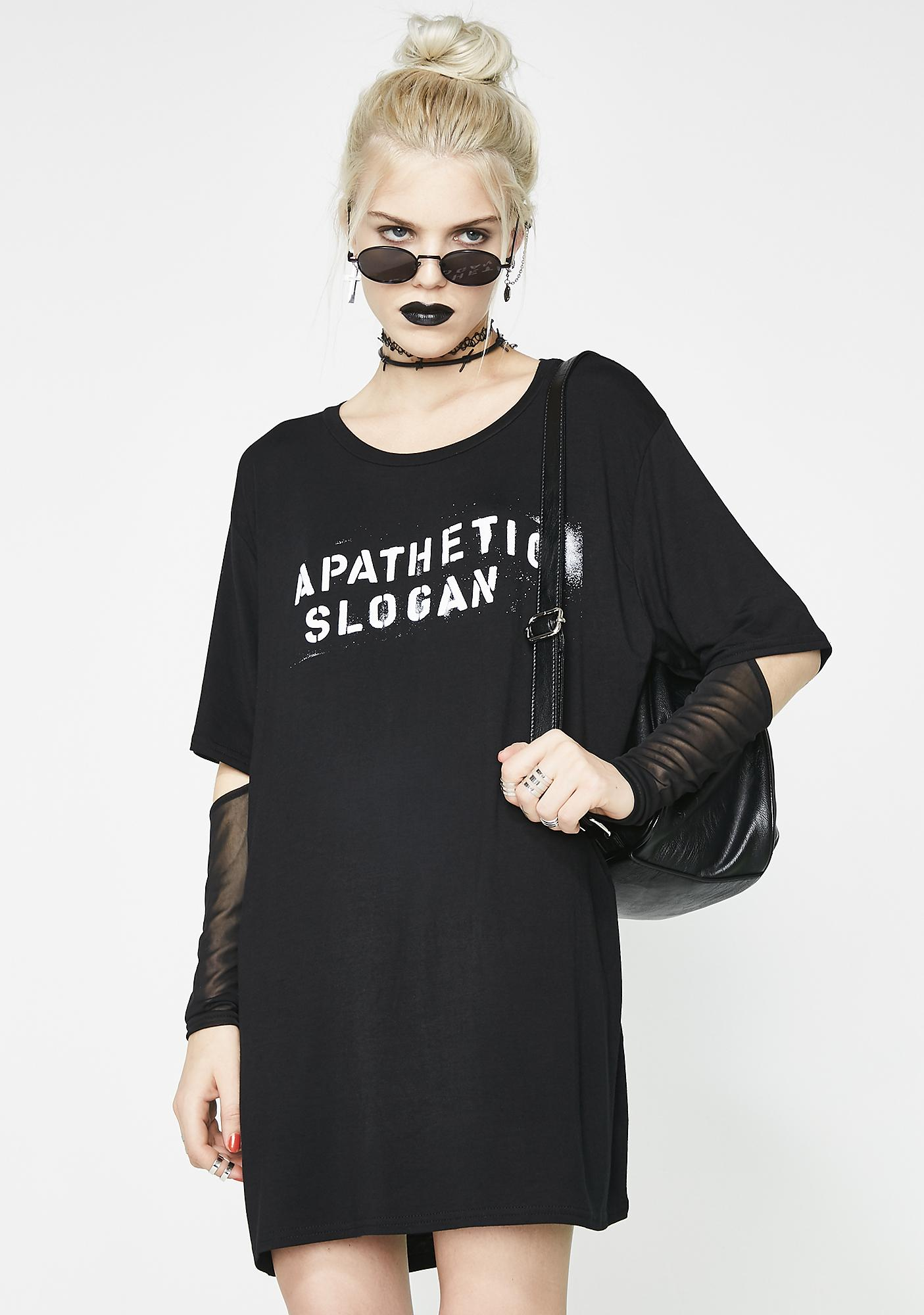 Disturbia Apathetic Slogan Long Sleeve Tee