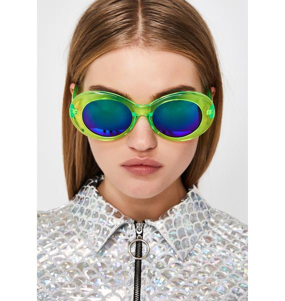 Nuclear Liquid Neon Oval Sunglasses