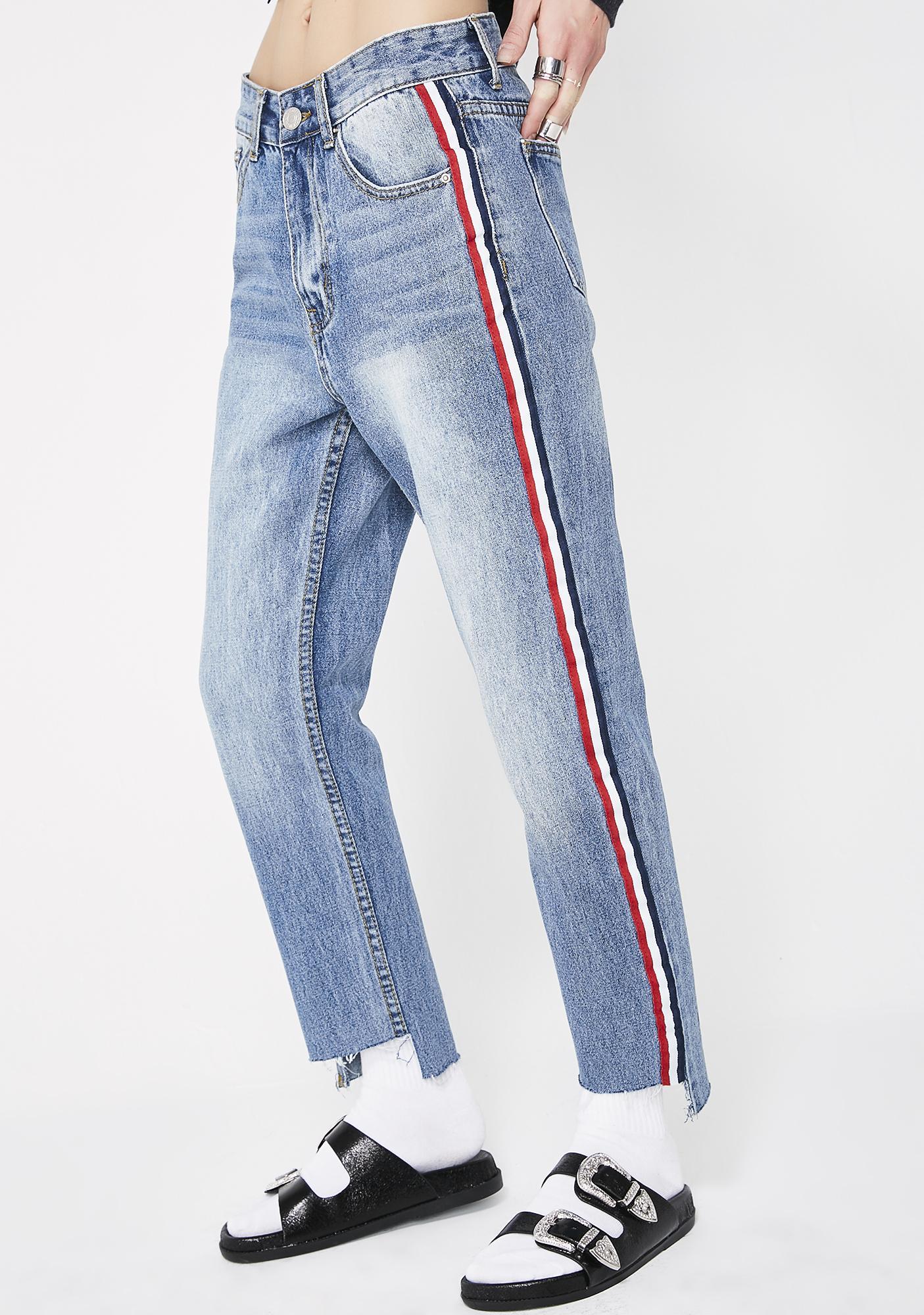 Momokrom Sport Stripe Boyfriend Jeans