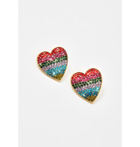 Technicolor Love Rhinestone Earrings