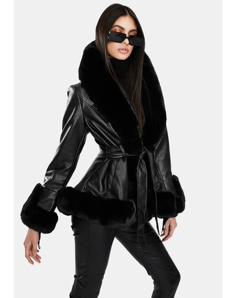 Kenzy Faux Fur Trim Peplum Coat