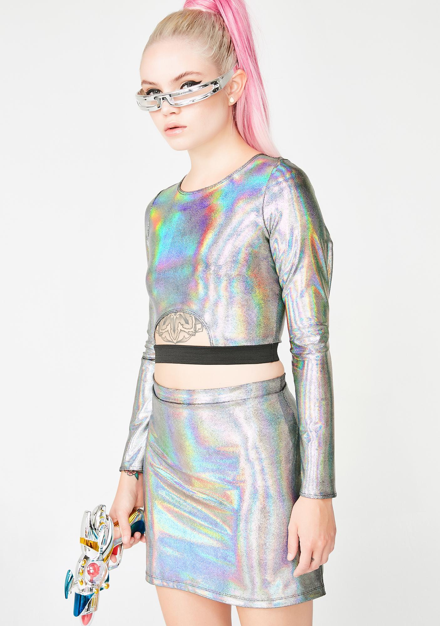 Ivy Berlin Silver Disco Top