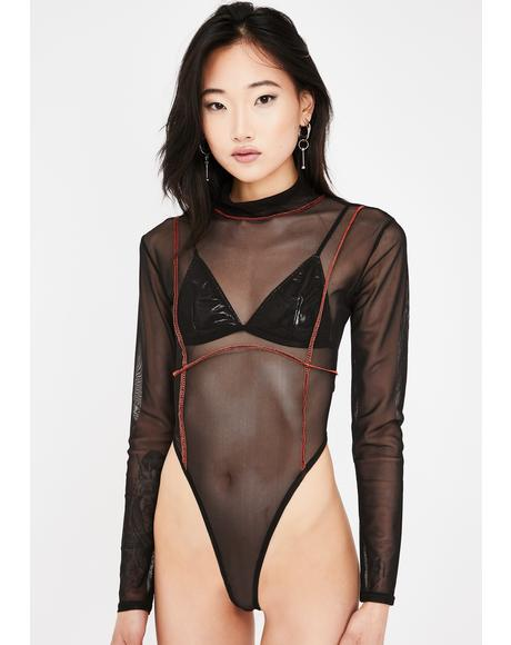 Black Contrast Stitch Mesh Bodysuit