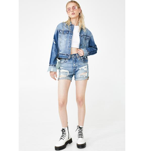 Hidden Denim Medium Wash Oversized Cropped Jacket