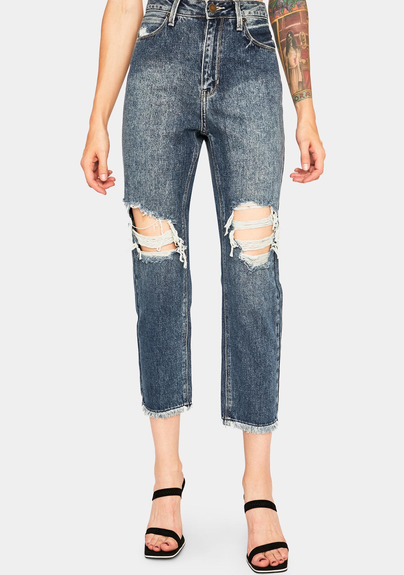 Just Black Denim Distressed Straight Leg Girlfriend Jeans