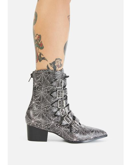 Spider Web Coven Buckle Boots