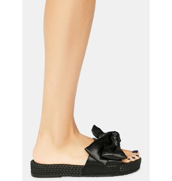 Wicked Lil Holly Golightly Woven Sole Bow Slides