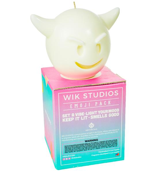 Fiendish Emoji Face Candle
