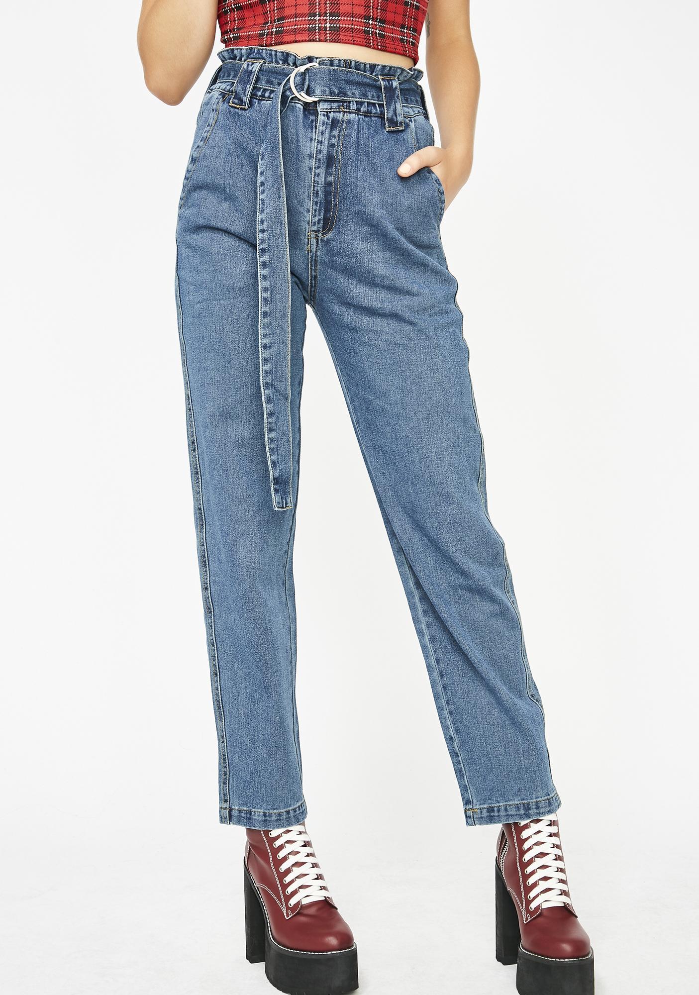 Varsity Blues Belted Jeans