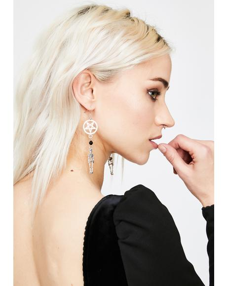 Hexed Death Skeleton Drop Earrings