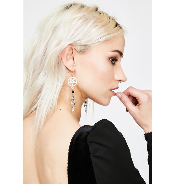 Hexed Death Skeleton Drop Earrings