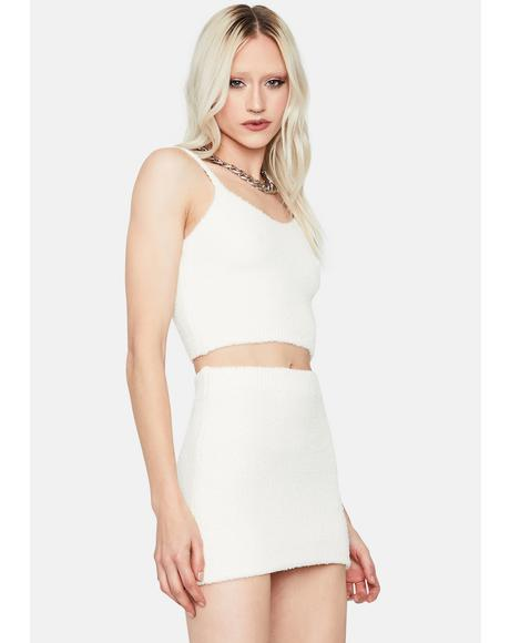 Bliss My Poker Face Fuzzy Crop Tank And Skirt Set