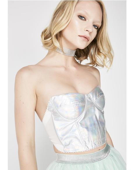 Holographic Take The Night PU Bustier