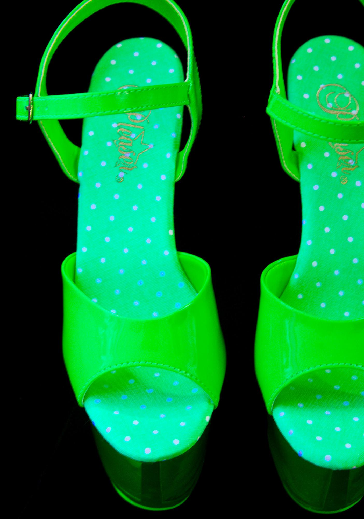 Pleaser Slime Glow In The Dark Platform Heels
