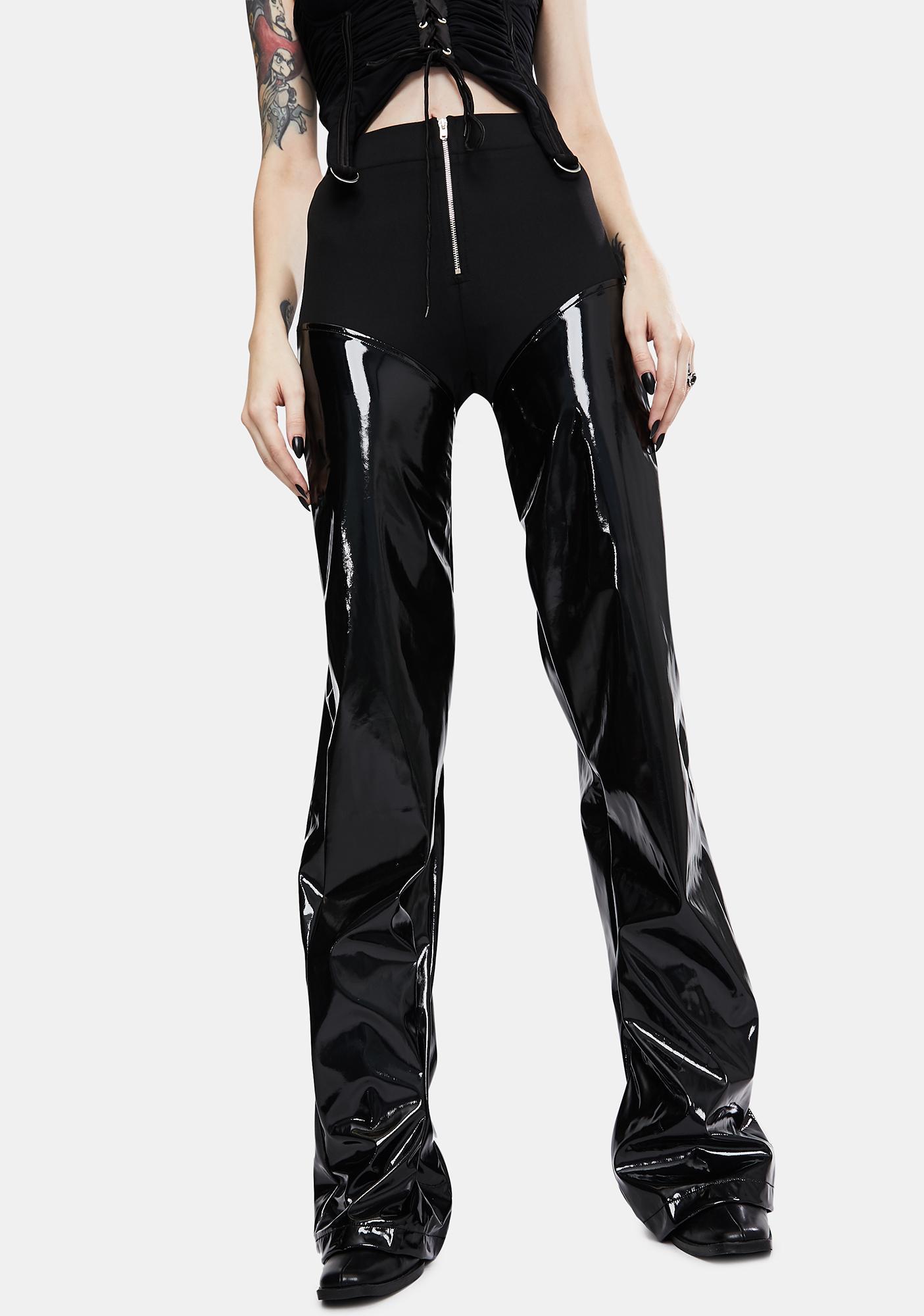 Kiki Riki Black Vinyl Panel Wide Leg Pants