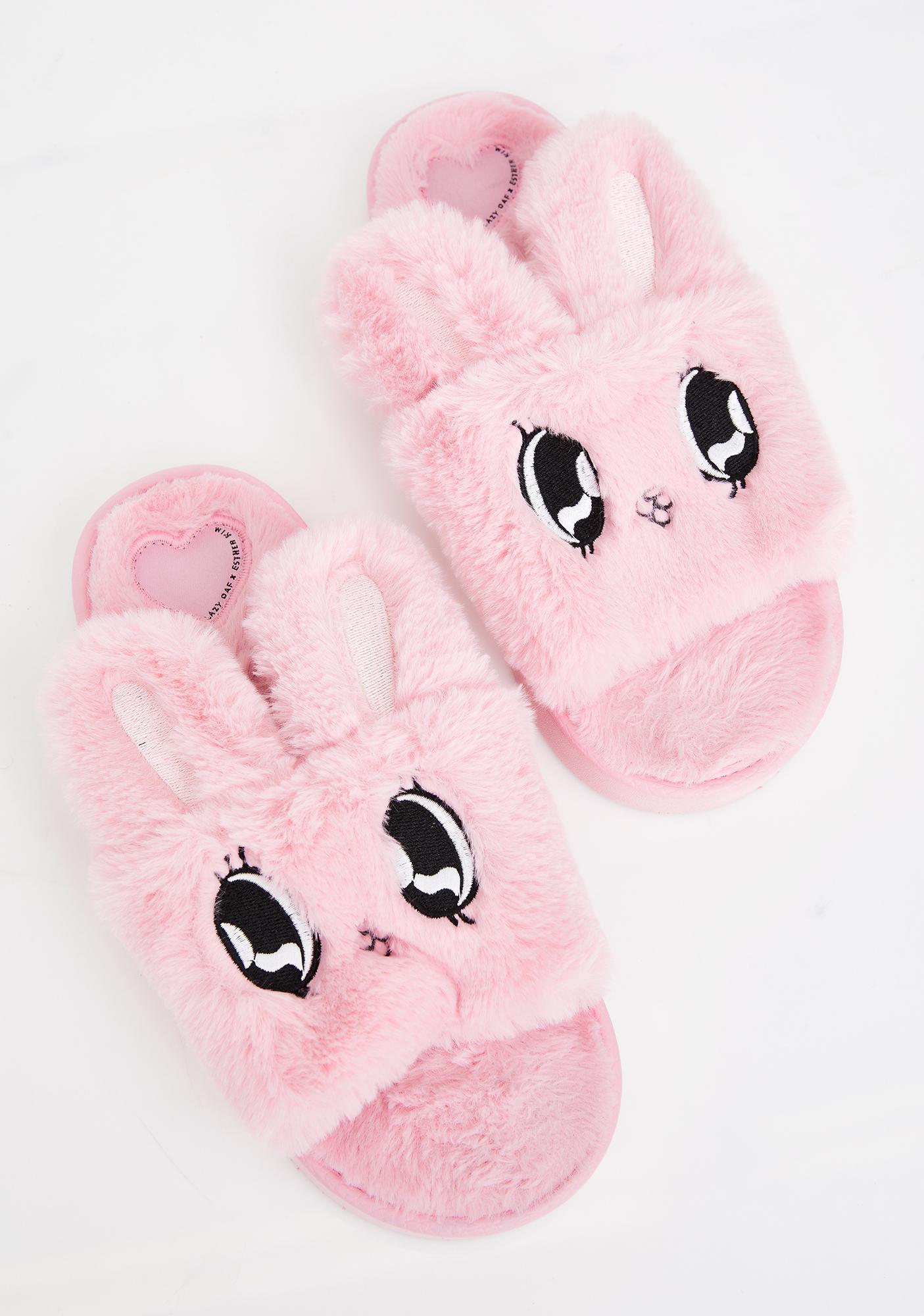 Lazy Oaf Fluffy Bunny Slippers