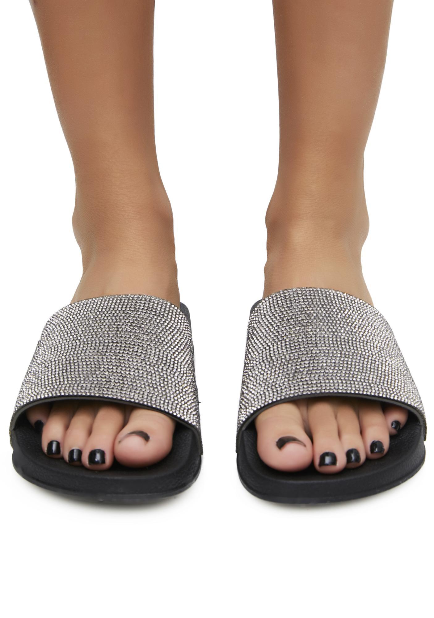 2d11955269122 Rhinestone Slide Sandals