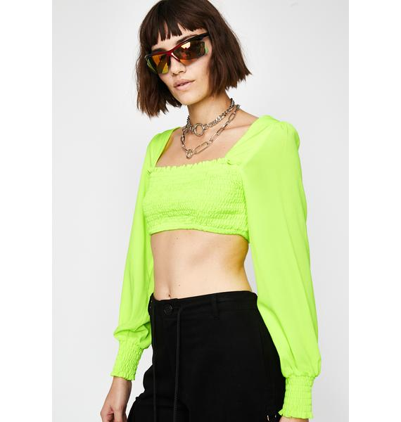 Neon Fields Smocked Top