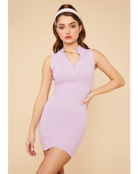 Lilac Lady Luck Ribbed Mini Dress