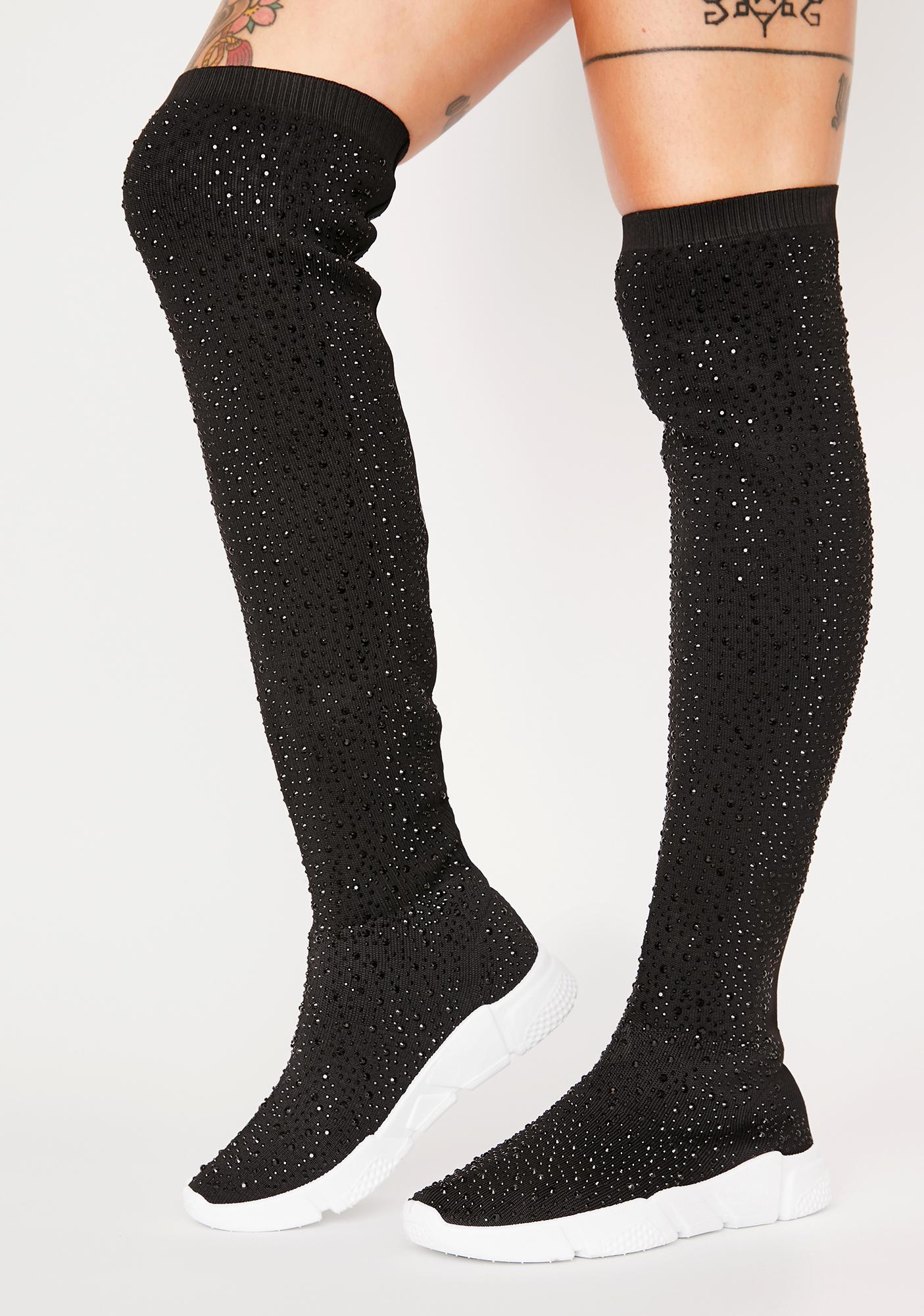 AZALEA WANG Black Partition Sock Sneakers