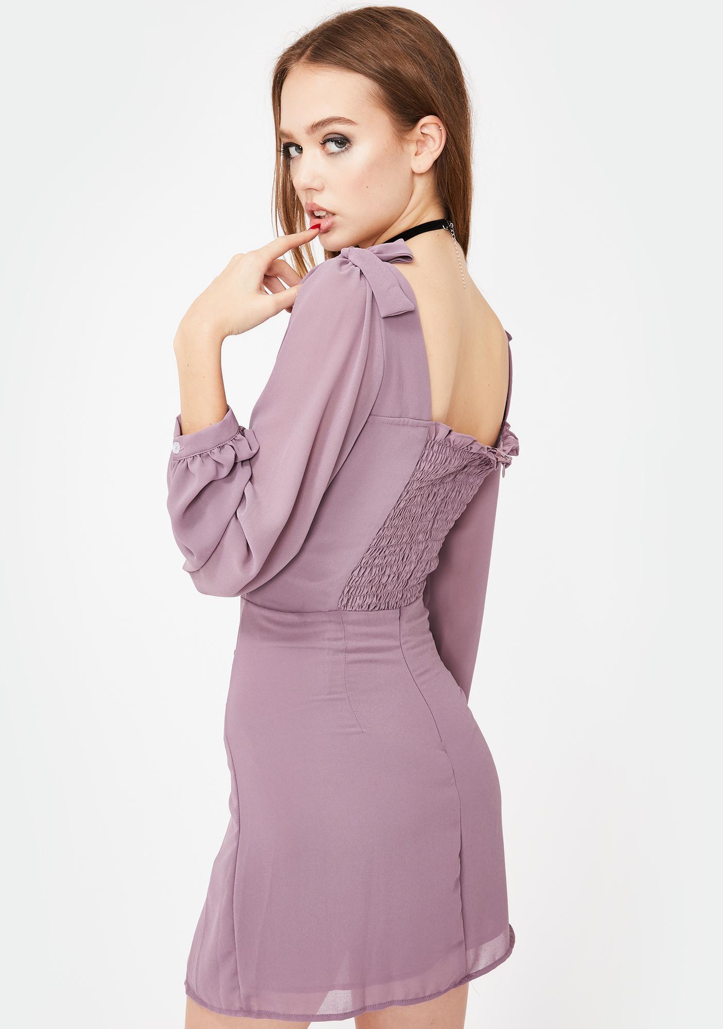Glamorous Lavender Bow Mini Dress