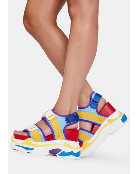 Retro Rainbow Peach Platform Sandals