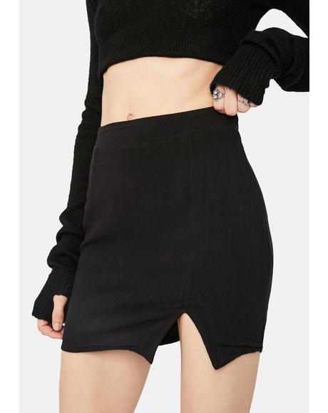 Bossy Title Side Front Slit Mini Skirt