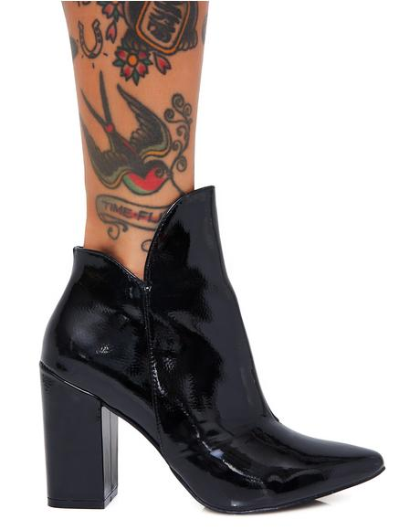 Midnight Mojo Jojo Patent Leather Booties
