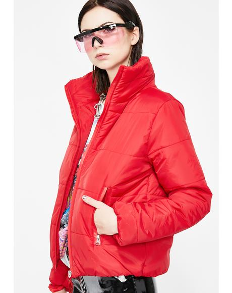 Futuristic Wave Puffer Jacket