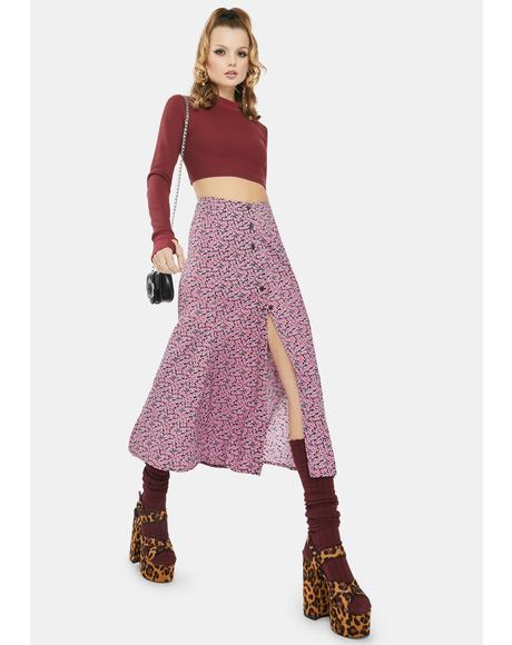 Floral Fun Pink Sanya Midi Skirt