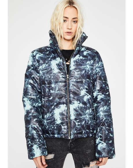 Watercolor Cosmos Tie Dye Puffer Jacket