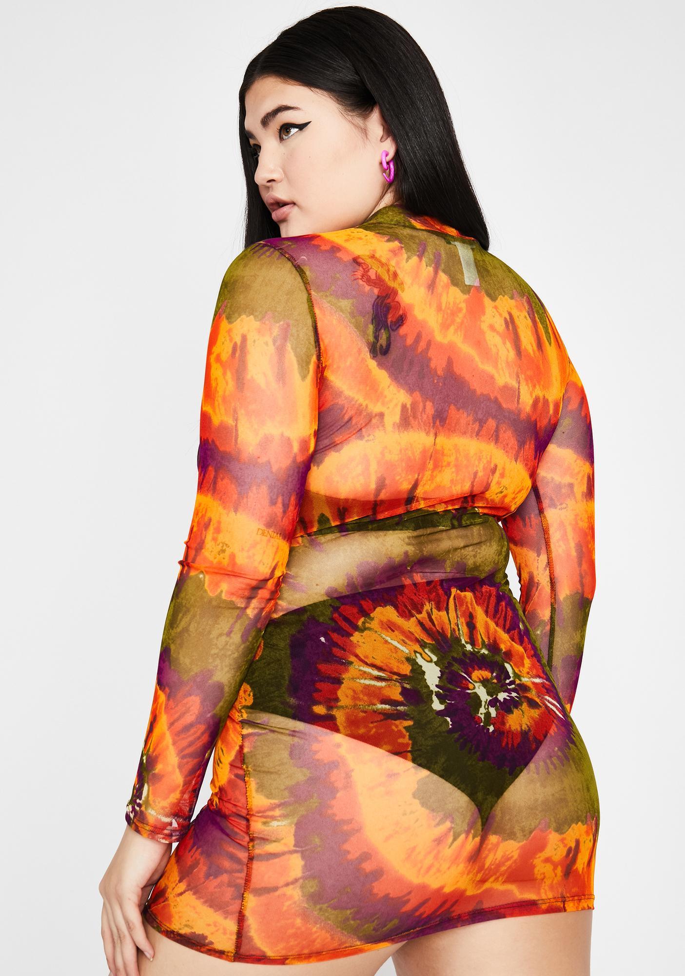 Amber True Smoke Signals Mesh Dress