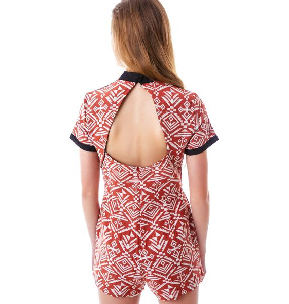 Aztec Open Back Romper